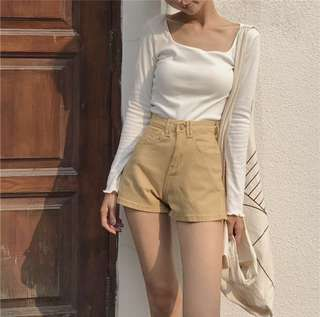 Yellow Denim High Waisted Shorts