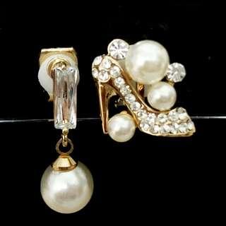 【夾式耳環】搶先上市--高貴女王(金邊鑲鑽高跟鞋+優雅珍珠)