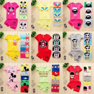 Children Cartoon Short Sleeves Set↪2in1↩