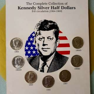 The Complete Collection of Kennedy Silver Half Dollars (For circulation 1964-1969