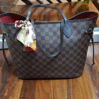 Authentic LV neverfull MM damier ebene