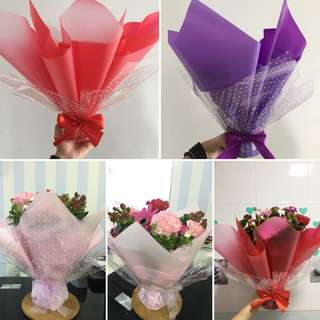 Mix Flower Bouquet, Rose Bouquet, Wrapped Vase Bouquet
