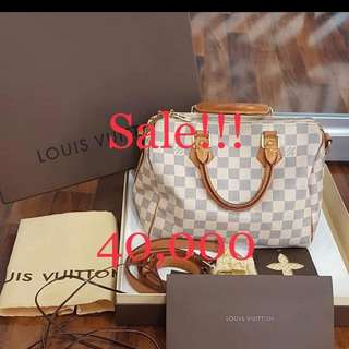 Authentic LV speedy bandouliere damier azur