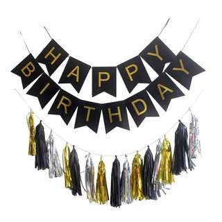 16pc Happy Birthday Banner and Tassel Set - Black Gold