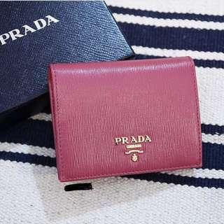 PRADA短款銀包(粉色)