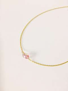 14K Gold Filled Pink Crystal Necklace