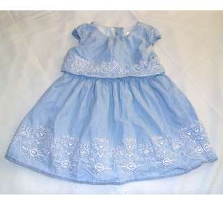 Charity Sale! Authentic Aphorism Baby Girl Denim Light Washed Dress Size 24 Months