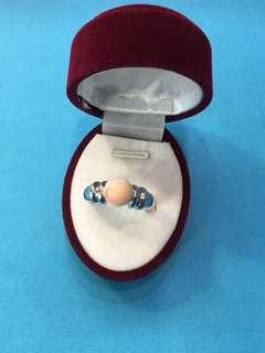 No:0127. 925純銀包白金,讓CZ+天然台灣深水珊瑚珠介子7.8mm內圈17.5mm超直價