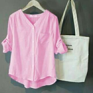 Kemeja momon strip warna pink