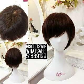 Biscuits專業手織真髮 短直 假髮套 可任撥髮 頭頂毛孔也設計了 歡迎問價