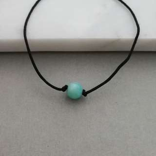 Natural Amazonite bracelet (black string)