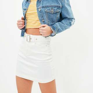 White Denim Skirt  From Misguided