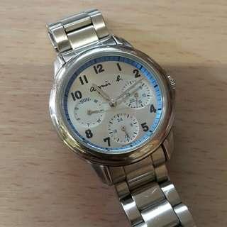 新凈agnes b 六針 星期 日曆 24小時 手錶(see settlement location frist)