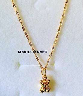Kids baby bear necklace 916 gold