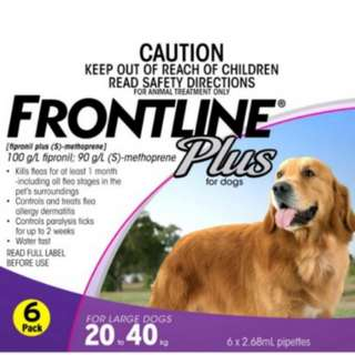 SALE! Frontline Plus for Large Dogs 6x2.86ml