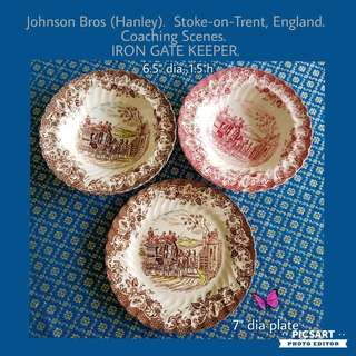 """Rare Vintage Johnson Bros 6.5""""-7"""" Ceramic Plate & Bowls. Beautiful condition, no chip no crack. All 3pcs for $35 Clearance Sale! Sms 96337309."""