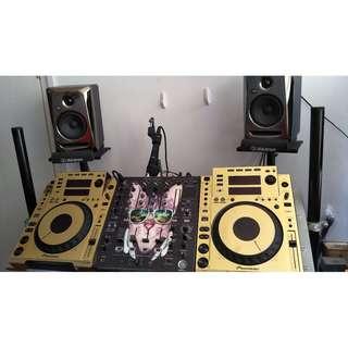 Full Club DJ Set - Gold Wrapped CDJ 900s + DJM 700 + KRK Rokit 5s + Speaker Stands
