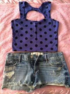 Polka dot crop top, small, never worn. Daisy dukes (abercrombie, size 25, used once)