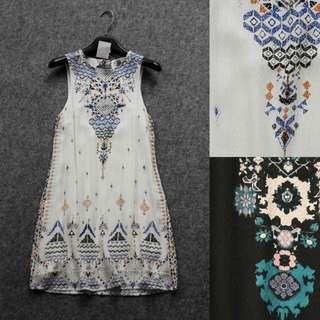 OshareGirl 04/28 美單定位幾何花型印花連身洋裝連身裙 summer free /白S2M3L1.黑S2.黃M1.藍L2