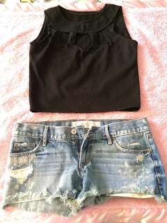 Blck crop top never used. Daisy dukes (abercrombie, size 25, used once)