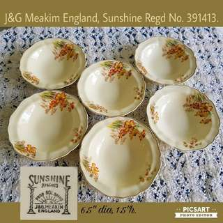 "Rare Vintage J&G Meakim Sunshine (Regd no. 319413) 6.5""-7"" Ceramic bowls. Beautiful condition, no chip no crack. All 6pcs for $45 Clearance Sale! Sms 96337309."