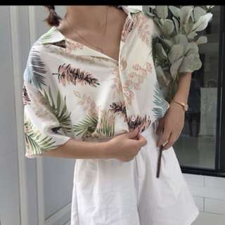 Floral/tropical Button Up Top