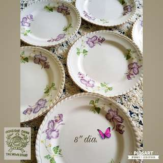 Rare Vintage YKC Crown Brand Japan made English Ceramic Plates. Beautiful condition, no chip no crack. All 6pcs for $30 Clearance Sale! Sms 96337309.
