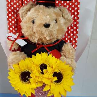 Hairy Hair Bear Graduation Bouquet