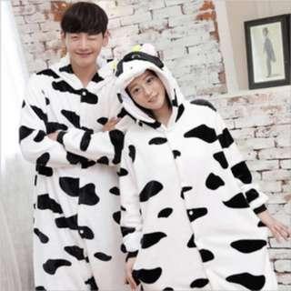 法蘭絨 乳牛 連身睡衣 L 165可穿