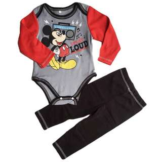 ❤Special Offer ❤ (Nett Price) Mickey Red Long Sleeve Romper + Pant Set