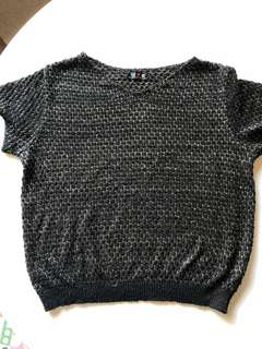 Vintage 80s black and gold top