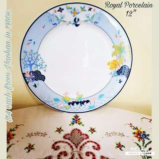 "Lovely Vintage ""Royal Porcelain"" Japan-made Plates. 12"" dia, good for serving dishes.  Unused, Pristine condition, no chip no crack. $5 Clearance Sale! Sms 96337309."
