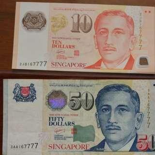 $50 3AA $10 GCT identical num set 167777