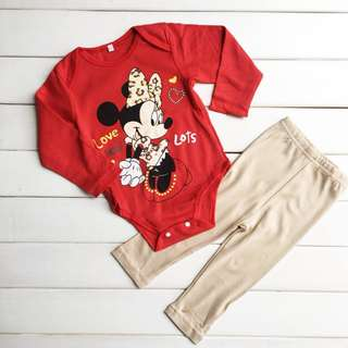 ❤Special Offer ❤ (Nett Price) Minnie Red Long Sleeve Romper + Pant Set #20under