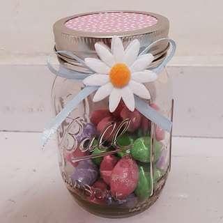 D.I.Y Easter Gift Jar - Pastel Pink Polka Cover