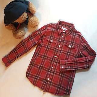 Red Flannel Long Sleeved Polo