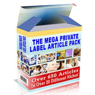 The Mega Private Label Article Pack: Over 650 Articles In Over 20 Different Niches!