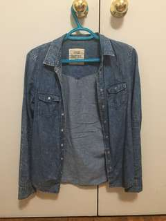 Blue notes denim washed shirt