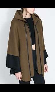 Zara - Brown hooded cape jacket