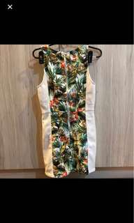 Tropical bodycon dress mini xs