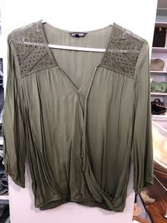 Express Olive Blouse - Preloved, Excellent Condition