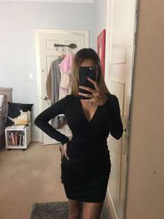 Boohoo Black Wrap Mini Dress