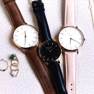 ROSEFLELD 黑色白盤手錶