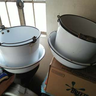 Old Vintage Antique Enamel Basins and Pails