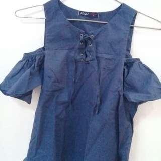 Red Girl Navy Blue Shirt
