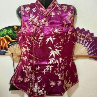 Silk Cherry Blossom Sleeveless Maroon Cheongsam Chinese Blouse