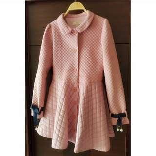 🚚 韓國  甜美菱格紋粉紅  綁帶珍珠宮廷袖大衣