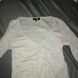 Grey top shop cropped long sleeve