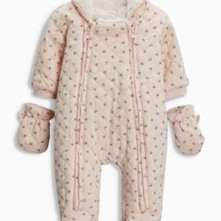 Baby Jacket - Pink Quilted One-Piece Jacket (with Hood & Gloves) 6-9 months