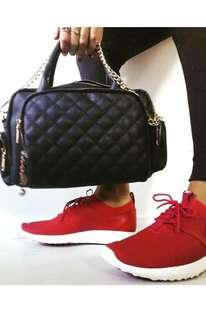 Red leather like NIKE sneakers